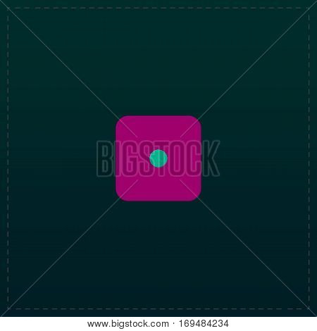 One die - side with 1. Color symbol icon on black background. Vector illustration