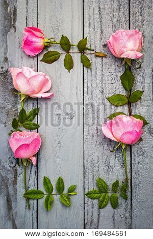 Romantic pink roses floral frame on gray painted wooden background