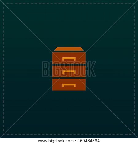 Chest of drawers. Color symbol icon on black background. Vector illustration