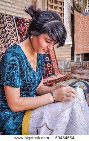 Woman In Blue In Uzbekistan
