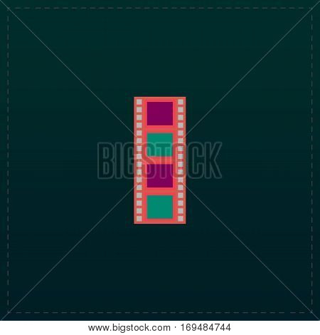 Cinematographic film. Color symbol icon on black background. Vector illustration