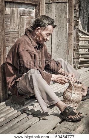 Man With Basket In Arunachal Pradesh