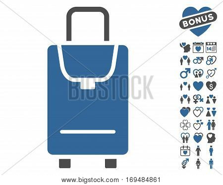 Carryon pictograph with bonus love images. Vector illustration style is flat iconic cobalt and gray symbols on white background.