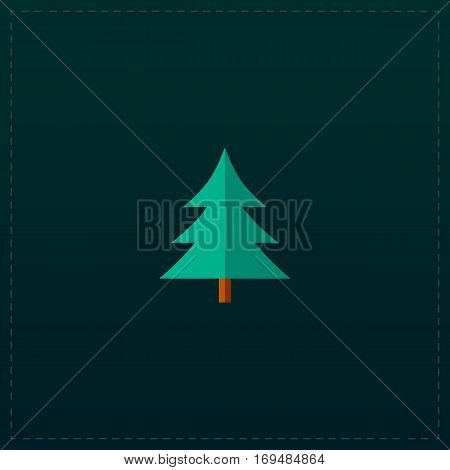 Spruce, christmas tree. Color symbol icon on black background. Vector illustration