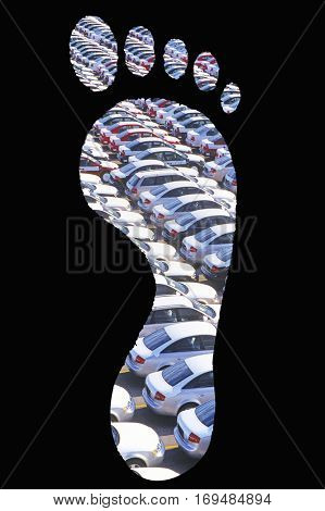Cars parked in footprints over black background