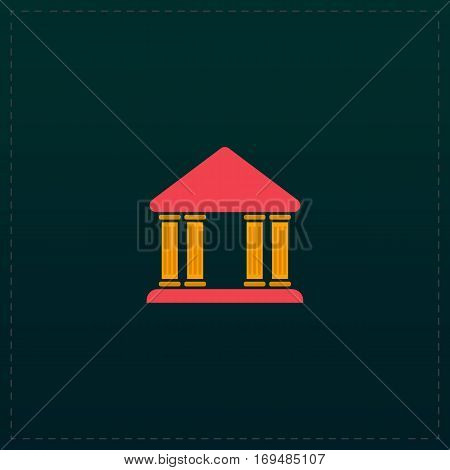Court building. Color symbol icon on black background. Vector illustration