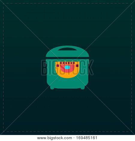 Electric Cooker. Color symbol icon on black background. Vector illustration