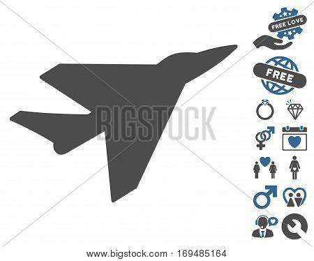 Intercepter icon with bonus valentine symbols. Vector illustration style is flat iconic cobalt and gray symbols on white background.