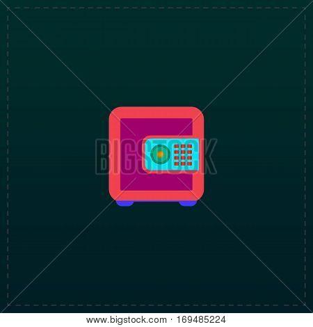 Safe money. Color symbol icon on black background. Vector illustration