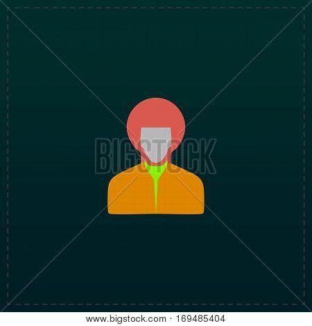 Rastafarian man. Color symbol icon on black background. Vector illustration