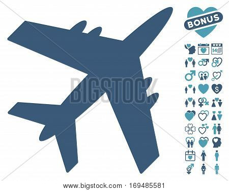 Aircraft pictograph with bonus valentine images. Vector illustration style is flat iconic cyan and blue symbols on white background.