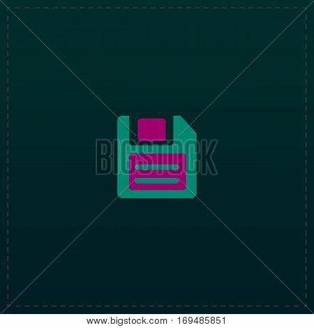 Magnetic floppy disc for computer data storage. Color symbol icon on black background. Vector illustration