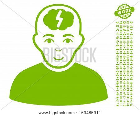 Clever Boy pictograph with bonus men design elements. Vector illustration style is flat iconic eco green symbols on white background.