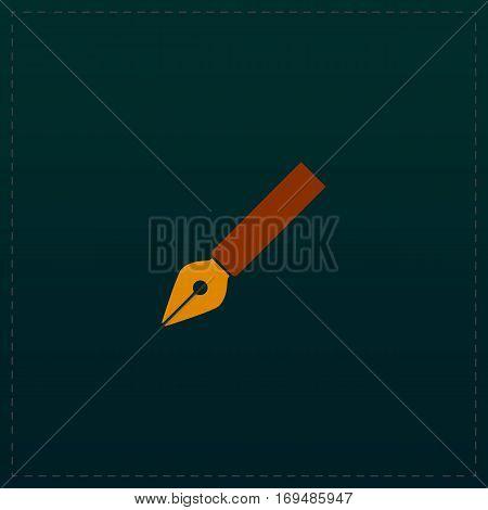 Fountain pen. Color symbol icon on black background. Vector illustration