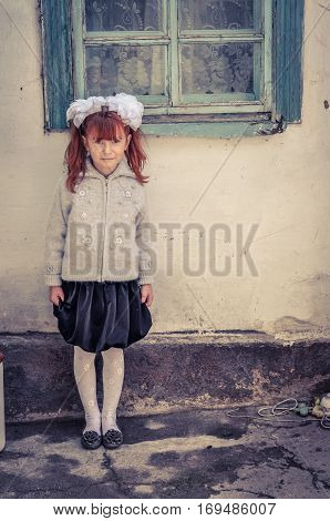Girl With Red Hair In Kyrgyzstan