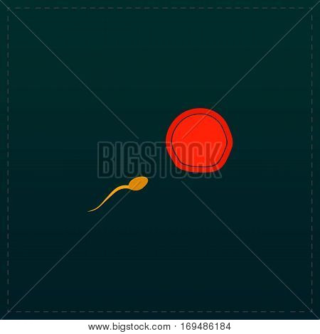 Egg and spermatozoon. Color symbol icon on black background. Vector illustration
