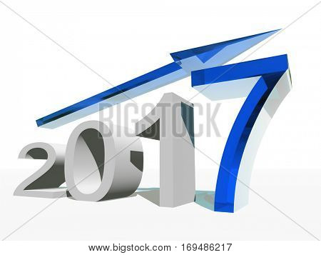 Conceptual 3D illustration blue 2017 year symbol with an arrow on background for success growth graph future finance financial new year holiday increase rise, date, career, forecast, December progress