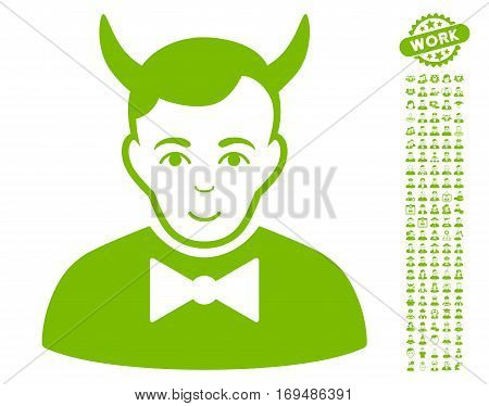 Devil pictograph with bonus occupation clip art. Vector illustration style is flat iconic eco green symbols on white background.