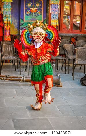 Posing Person In Mask In Ladakh