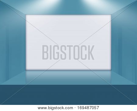 A Big White Flat Screen on 3D Space Stage.3d illustration 3d render