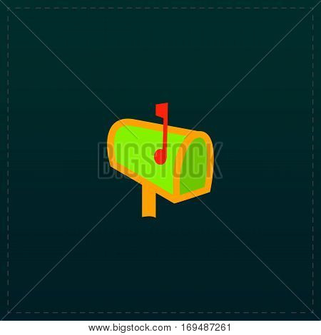 Mailbox. Color symbol icon on black background. Vector illustration