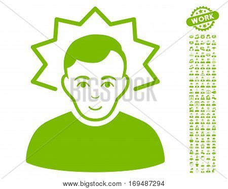 Inventor icon with bonus men pictures. Vector illustration style is flat iconic eco green symbols on white background.
