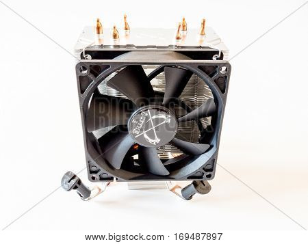 GOMEL, BELARUS - September 15, 2016: Scythe CPU Cooler Tatsumi Type 1. Scythe Co., Ltd., originally started its business operation in Japan's famous