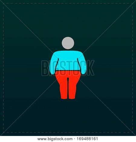 Overweight man symbol. Color symbol icon on black background. Vector illustration