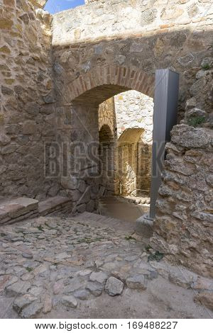 Stone gate, Town of Consuegra in the province of Toledo, Spain