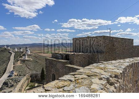Summer tourism, Town of Consuegra in the province of Toledo, Spain