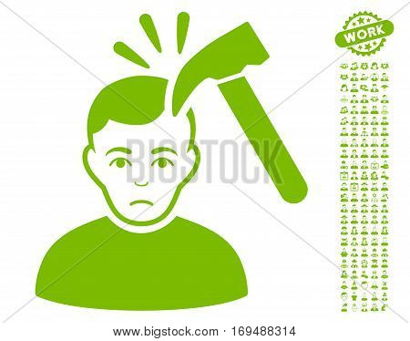 Murder With Hammer icon with bonus occupation symbols. Vector illustration style is flat iconic eco green symbols on white background.