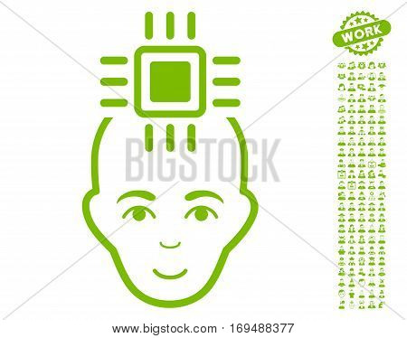 Neural Computer Interface icon with bonus people icon set. Vector illustration style is flat iconic eco green symbols on white background.