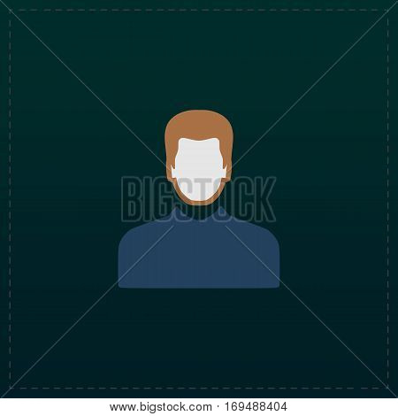 Male avatar profile picture. Color symbol icon on black background. Vector illustration
