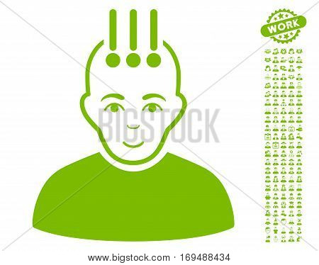 Neural Interface pictograph with bonus avatar pictograms. Vector illustration style is flat iconic eco green symbols on white background.