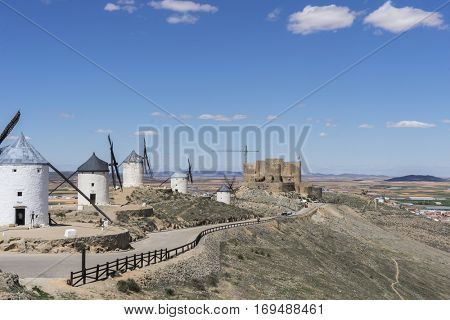 White wind mills for grinding wheat. Town of Consuegra in the province of Toledo, Spain