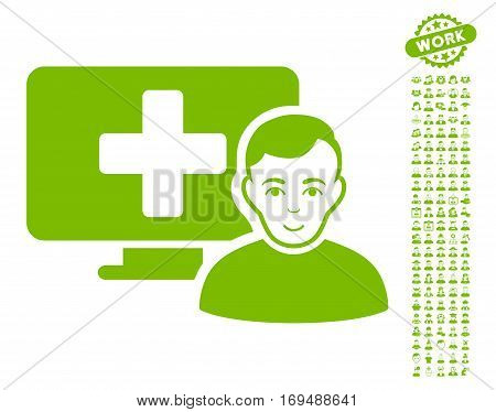 Online Medicine pictograph with bonus people clip art. Vector illustration style is flat iconic eco green symbols on white background.