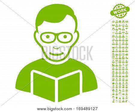 Reader icon with bonus avatar clip art. Vector illustration style is flat iconic eco green symbols on white background.