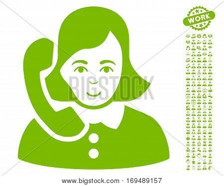 Receptionist icon with bonus men images. Vector illustration style is flat iconic eco green symbols on white background.