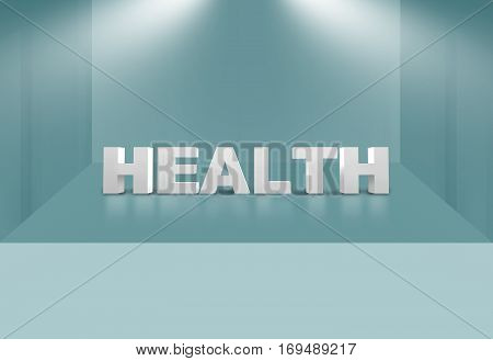 3D Health Text on 3D Stage Space Suitable for Healthcare and Medical News Topic 3d render, 3d illustration