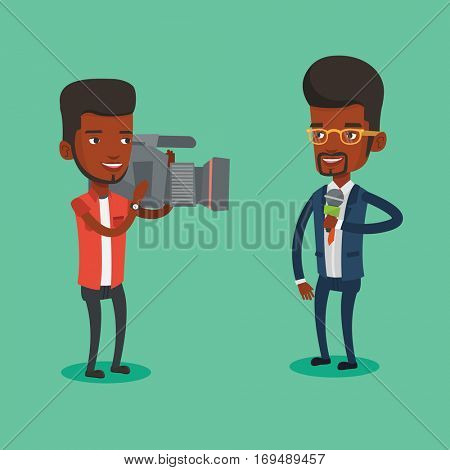 An african-american male reporter with microphone presenting the news. Young operator filming reporter. Reporter and operator recording the news. Vector flat design illustration. Square layout.