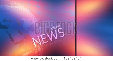 Flat Colorful Transparent Screen with World News Text and Lights from Each Corner 3d Illustration 3d Render
