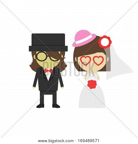 groom and bride isolated on white background