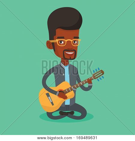 An african-american musician playing an acoustic guitar. Musician sitting with guitar in hands. Young male guitarist practicing in playing guitar. Vector flat design illustration. Square layout.