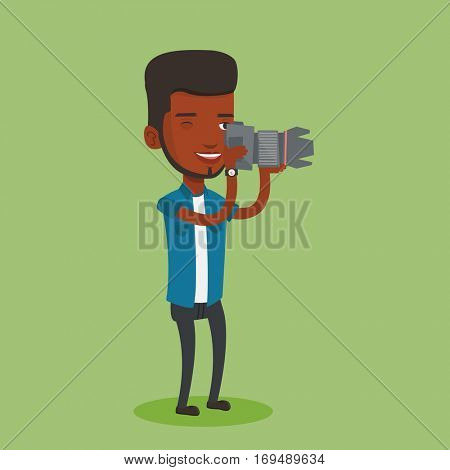 An african-american photographer working with digital camera. Professional photographer taking a photo. Young photographer taking a picture. Vector flat design illustration. Square layout.