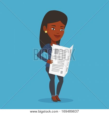 Cheerful african-american woman reading the newspaper. Young smiling woman reading good news in newspaper. Woman standing with newspaper in hands. Vector flat design illustration. Square layout.