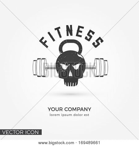 Skull - Kettlebell with Barbell, FITNESS LOGO / ICON