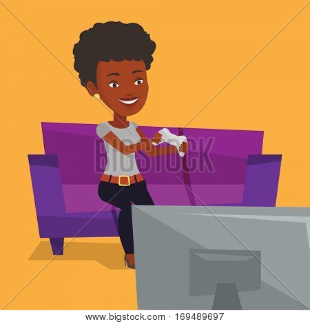 Happy african gamer sitting on a sofa and playing video game on the television. An excited young woman with console in hands playing video game at home. Vector flat design illustration. Square layout.