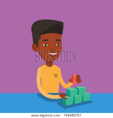 An african-american young man making pyramid of network avatars. Smiling man building her social network. Network and communication concept. Vector flat design illustration. Square layout.
