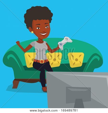 African-american woman playing video game. Excited woman with console in hands playing video game at home. Woman celebrating her victory in video game. Vector flat design illustration. Square layout.