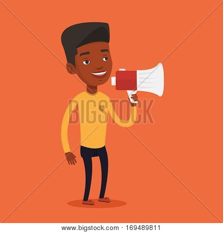 An african-american man holding megaphone. Man promoter speaking into a megaphone. Man advertising using megaphone. Social media marketing concept. Vector flat design illustration. Square layout